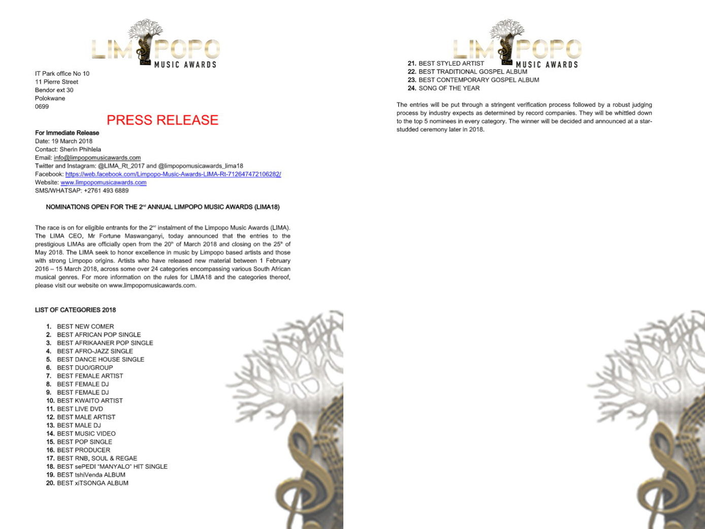 Press Release - Limpopo Music Awards